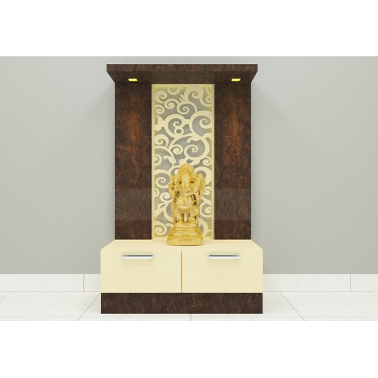 Avellana Puja Unit with Laminate Finish