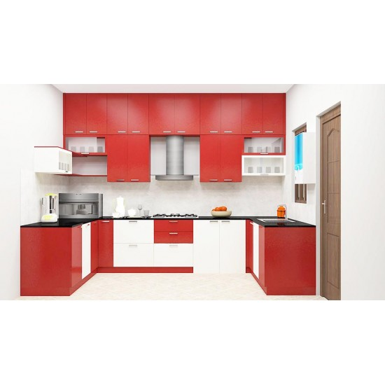 Gaura U - Shaped Kitchen with Laminate Finish