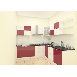 Tangerine L - Shaped Kitchen with Laminate Finish
