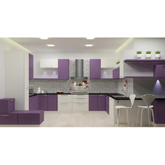 Violet U - Shaped Kitchen with Laminate Finish