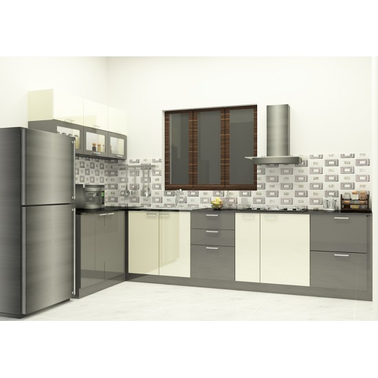 Kalindi L - Shaped Kitchen with Laminate Finish