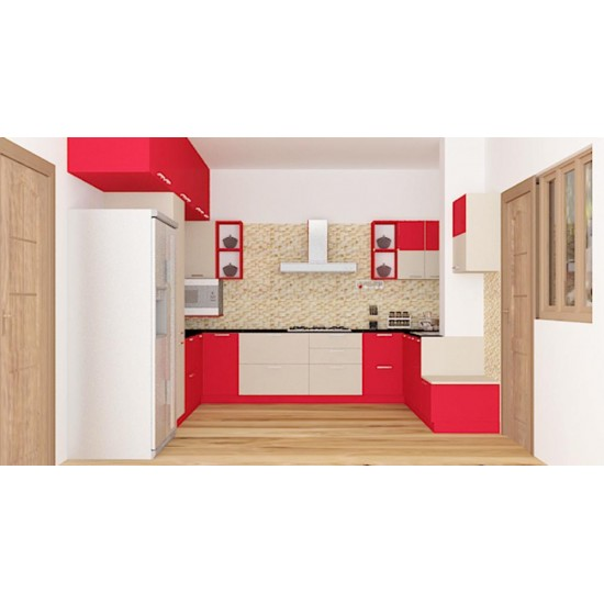 Crevice U - Shaped Kitchen with Laminate Finish