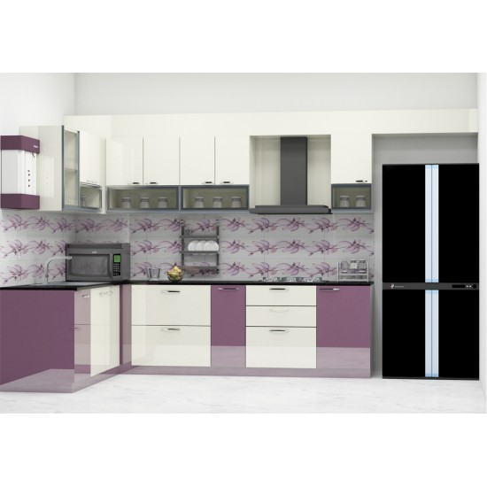 Spindle L - Shaped Kitchen with Laminate Finish
