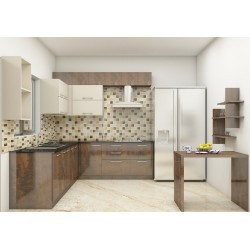 Beech L - Shaped Kitchen with Laminate Finish
