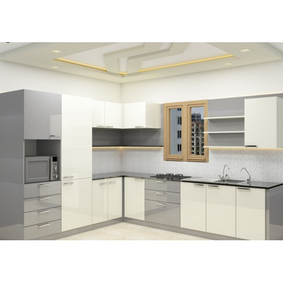 Robur L - Shaped Kitchen with Laminate Finish